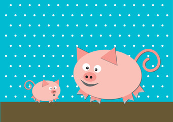 Two funny pigs on turquoise background