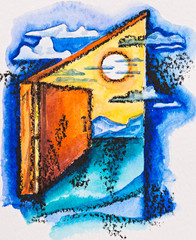 Abstract open door with light, watercolor with slate-pencil pain
