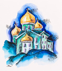 Temple building with golden cupola, watercolor with slate-pencil