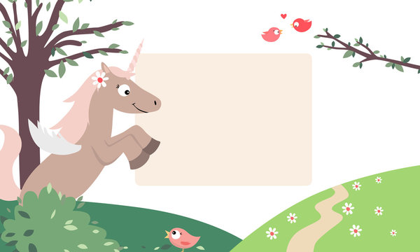 Pretty unicorn in a peaceful landscape