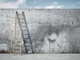 In de dag Graffiti Ladder on wall in front of sky