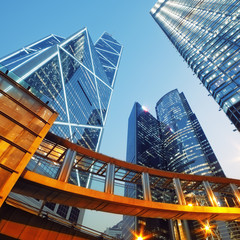 Foto op Aluminium Hong-Kong Modern office buildings in Central Hong Kong.