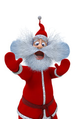 3d render of Santa Claus shows the emotions of fright