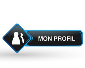mon profil sur bouton web carré design bleu