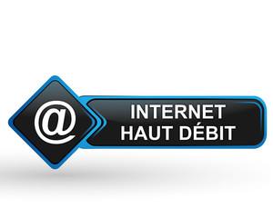 internet haut débit sur bouton web carré design bleu