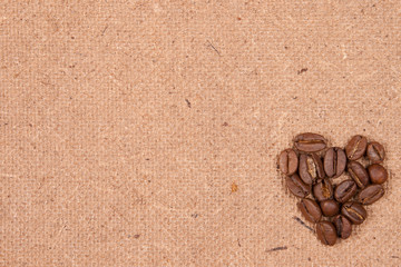 coffee beans on textured old paper
