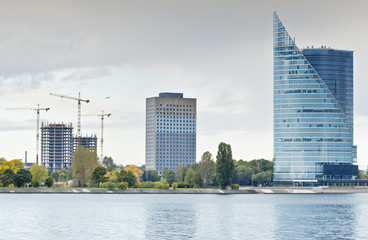 Buildings under construction in Riga - capital of Latvia.