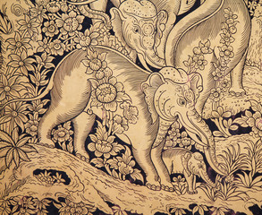 Gold elephant paint