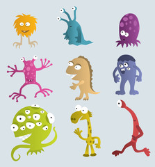 Deurstickers Schepselen Funny Creatures from another Planets