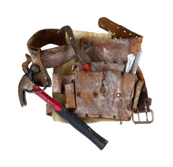 Old used tool belt with hammer