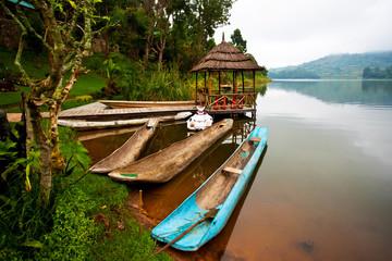 Traditional boats at Lake Bunyonyi in Uganda, Africa Wall mural