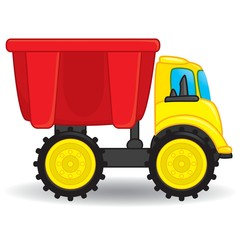 Colorful dump truck toy. Vector illustration