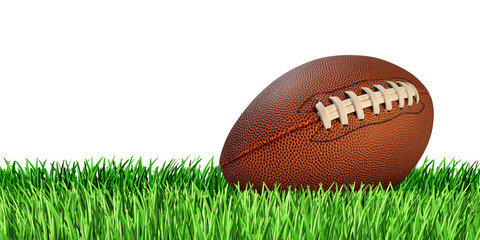 Football And Grass Isolated