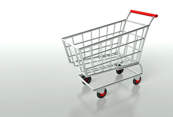 Empty shopping cart, background