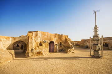 Star wars movie decoration in the Sahara Desert, Tunisia