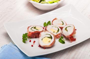 chicken breast in parma ham stufed with gorgonzola