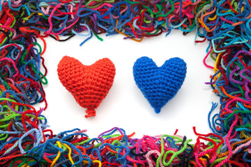 corazones tejidos