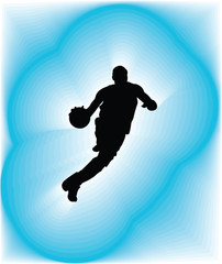 Basketball player in action. Vector illustration