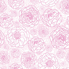 Vector pink line art flowers elegant seamless pattern background