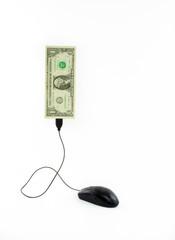 Mouse conectado a nota de um dólar