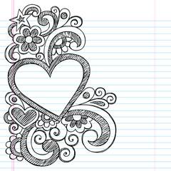 Heart Frame Border Sketchy Back to School Doodles