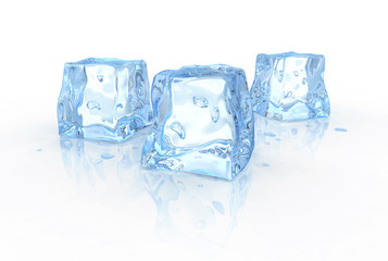 bluish shiny ice cubes