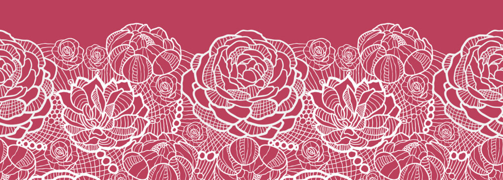 Vector red lace flowers elegant horizontal seamless pattern