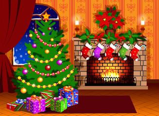 Christmas tree and fireplace stocking