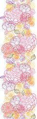 Vector floral line art vertical seamless pattern ornament with