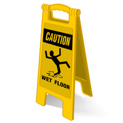 caution wet floor sign vector