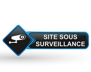 site sous surveillance sur bouton web carré design bleu