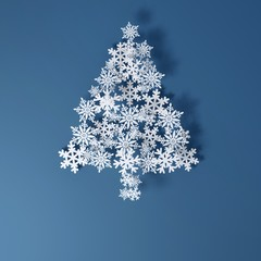 Christmas Card Application from paper snowflakes (blue version)