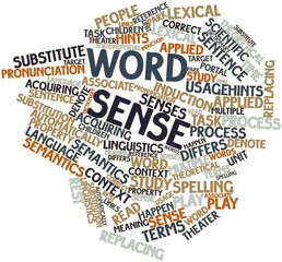Word cloud for Word sense
