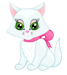cute white kitten with a pink bow on her neck