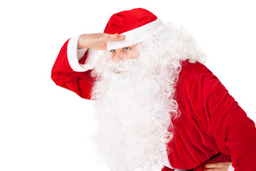Portrait of Santa Claus look far away hold hand at head isolated