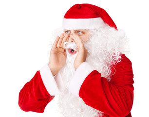 Santa Claus loud screaming calling out to someone isolated on wh