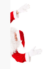 Santa Claus is looking out of white board