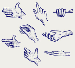 Set of many different hands. Doodle style