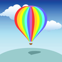 Colorful baloon on its way