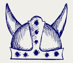 Viking helmet. Doodle style
