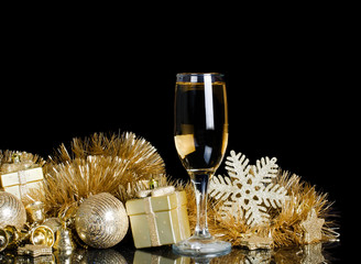 Champagne with Christmas ornaments