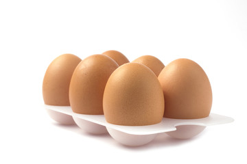 Eggs on a stand on white background