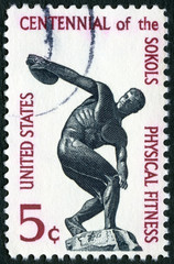 USA - 1965: shows Discus thrower