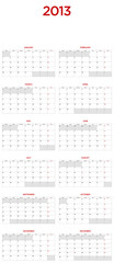 Calendar for 2013. Room besides each day, large format.