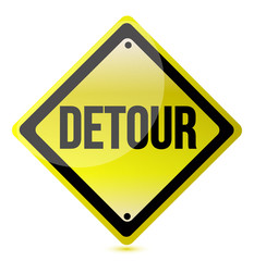 detour yellow sign
