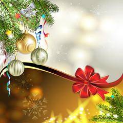 Christmas card with balls and pine tree