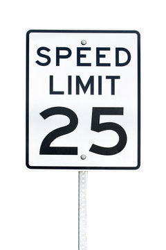 Speed limit 25 mph sign isolated on white background