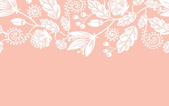 Vector wedding flowers and leaves elegant horizontal seamless