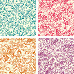 Vector set of four floral line art seamless pattern background