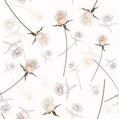 Tuinposter Abstract bloemen Beautiful seamless rose pattern